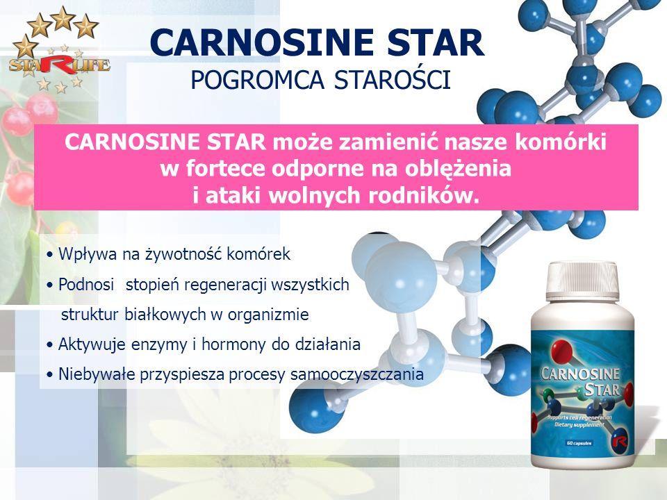 CARNOSINE STAR POGROMCA STAROŚCI CARNOSINE STAR może zamienić nasze komórki w fortece odporne na oblężenia i ataki wolnych rodników.