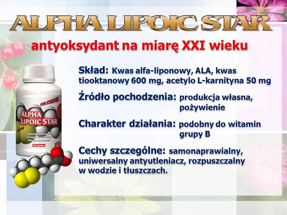 Skład: Kwas alfa-liponowy, ALA, kwas tiooktanowy 600 mg, acetylo L-karnityna 50 mg Źródło pochodzenia: produkcja własna, pożywienie Charakter działania: podobny do witamin grupy B Cechy szczególne: samonaprawialny, uniwersalny antyutleniacz, rozpuszczalny w wodzie i tłuszczach.