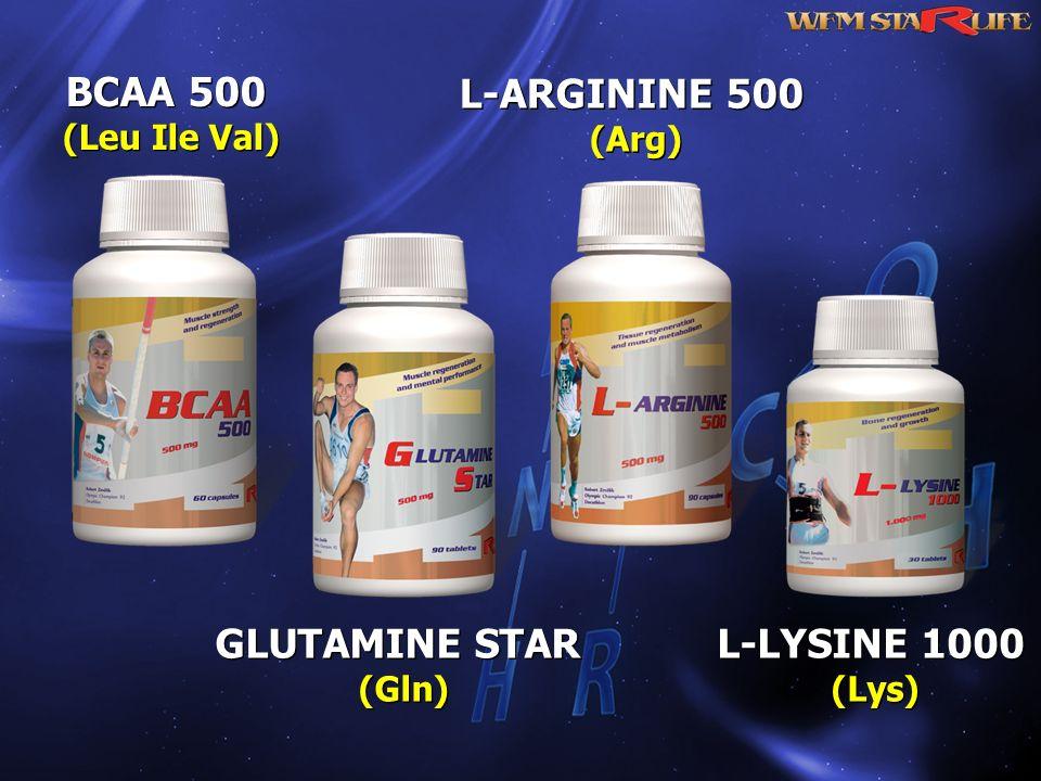 BCAA 500 (Leu Ile Val) BCAA 500 (Leu Ile Val) L-LYSINE 1000 (Lys) L-LYSINE 1000 (Lys) L-ARGININE 500 (Arg) L-ARGININE 500 (Arg) GLUTAMINE STAR (Gln) G