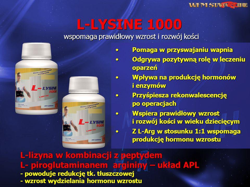 L-lizyna w kombinacji z peptydem L- piroglutaminanem argininy – układ APL - powoduje redukcję tk. tłuszczowej - wzrost wydzielania hormonu wzrostu L-l