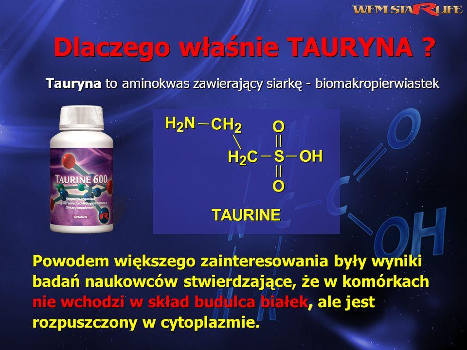 Tauryna to aminokwas zawierający siarkę - biomakropierwiastek, Powodem większego zainteresowania były wyniki badań naukowców stwierdzające, że w komór