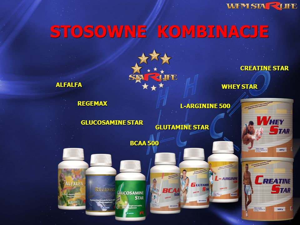 STOSOWNE KOMBINACJE ALFALFA REGEMAX L-ARGININE 500 WHEY STAR GLUCOSAMINE STAR GLUTAMINE STAR CREATINE STAR BCAA 500
