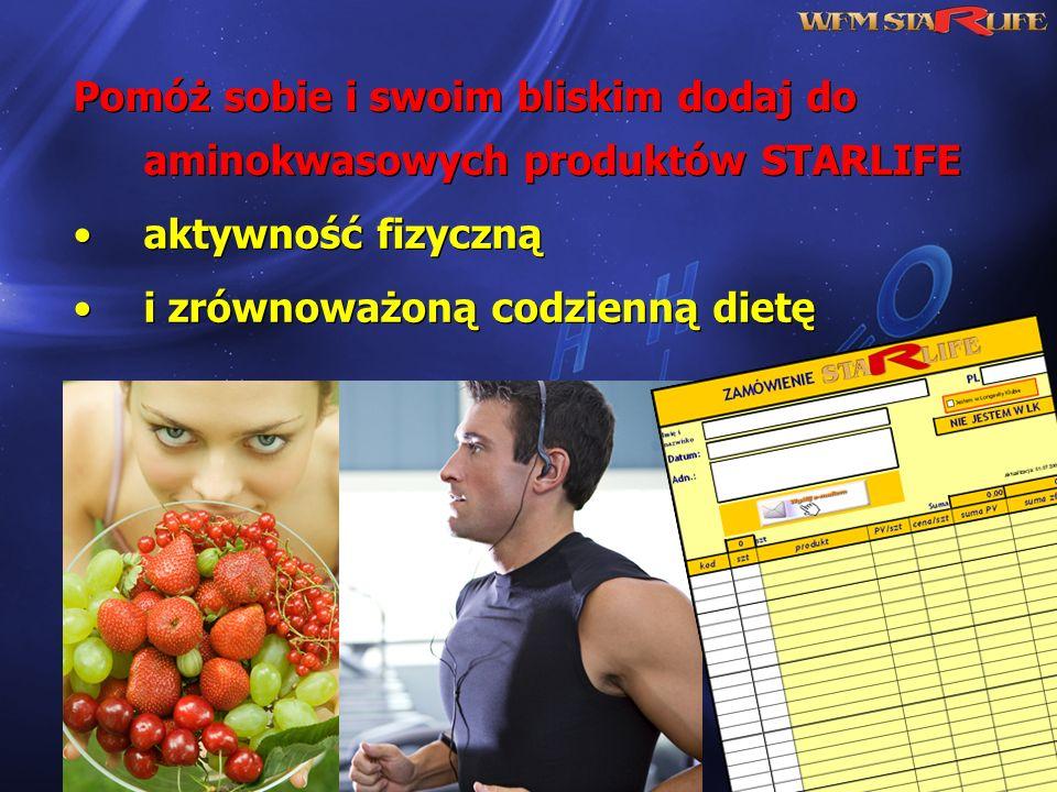 Pomóż sobie i swoim bliskim dodaj do aminokwasowych produktów STARLIFE aktywność fizyczną i zrównoważoną codzienną dietę Pomóż sobie i swoim bliskim d