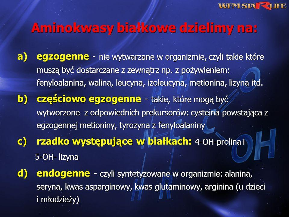 Aminokwasy białkowe dzielimy na: a)egzogenne - nie wytwarzane w organizmie, czyli takie które muszą być dostarczane z zewnątrz np. z pożywieniem: feny
