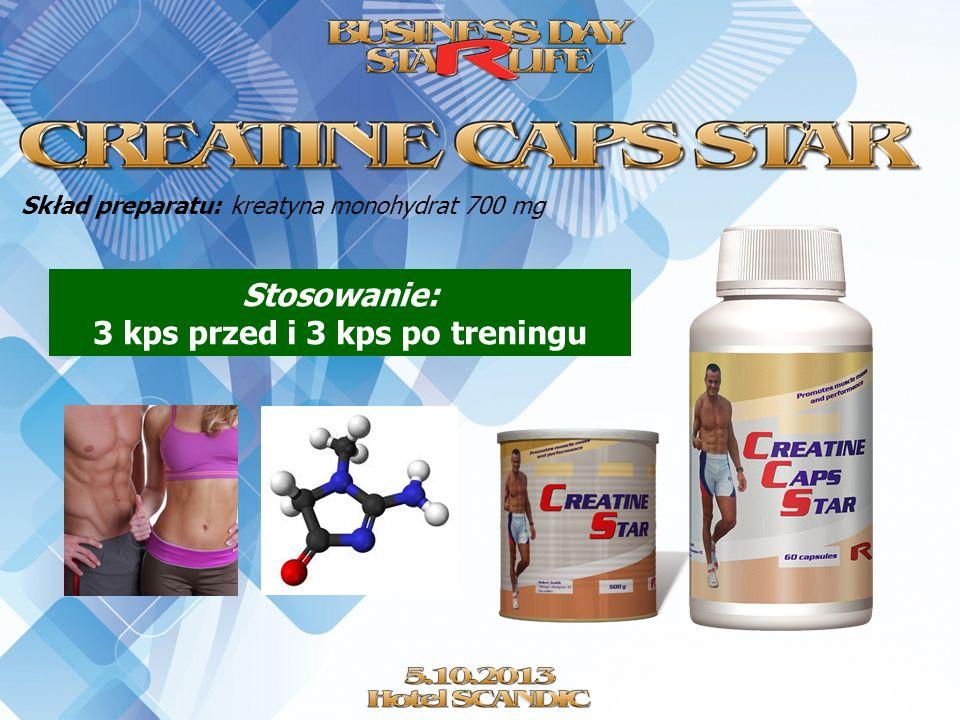 Skład preparatu: kreatyna monohydrat 700 mg Stosowanie: 3 kps przed i 3 kps po treningu