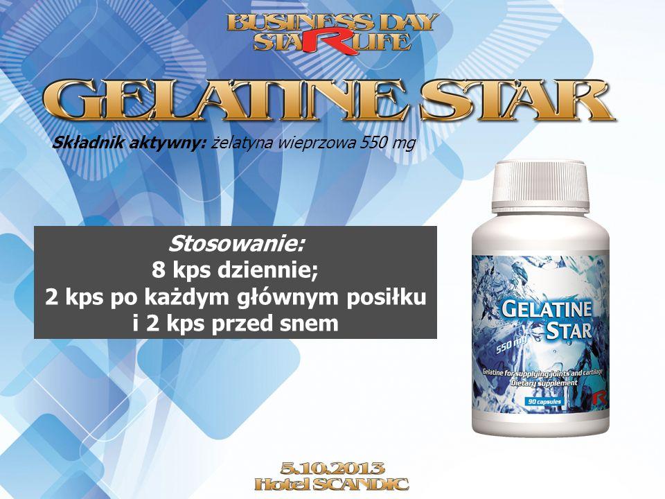 Składnik aktywny: żelatyna wieprzowa 550 mg Stosowanie: 8 kps dziennie; 2 kps po każdym głównym posiłku i 2 kps przed snem