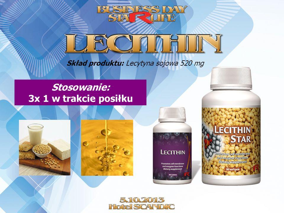 Skład produktu: Lecytyna sojowa 520 mg Stosowanie: 3x 1 w trakcie posiłku