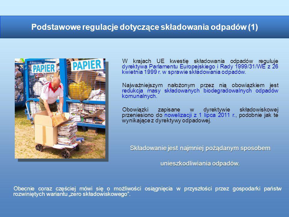W krajach UE kwestię składowania odpadów reguluje dyrektywa Parlamentu Europejskiego i Rady 1999/31/WE z 26 kwietnia 1999 r. w sprawie składowania odp
