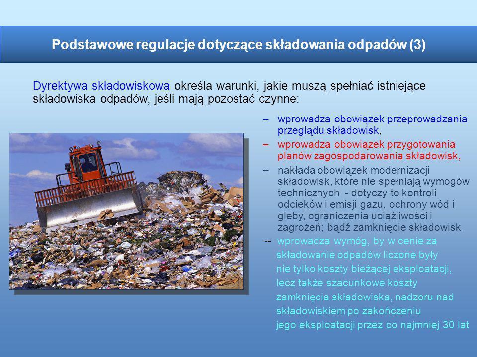 –wprowadza obowiązek przeprowadzania przeglądu składowisk, –wprowadza obowiązek przygotowania planów zagospodarowania składowisk, –nakłada obowiązek m
