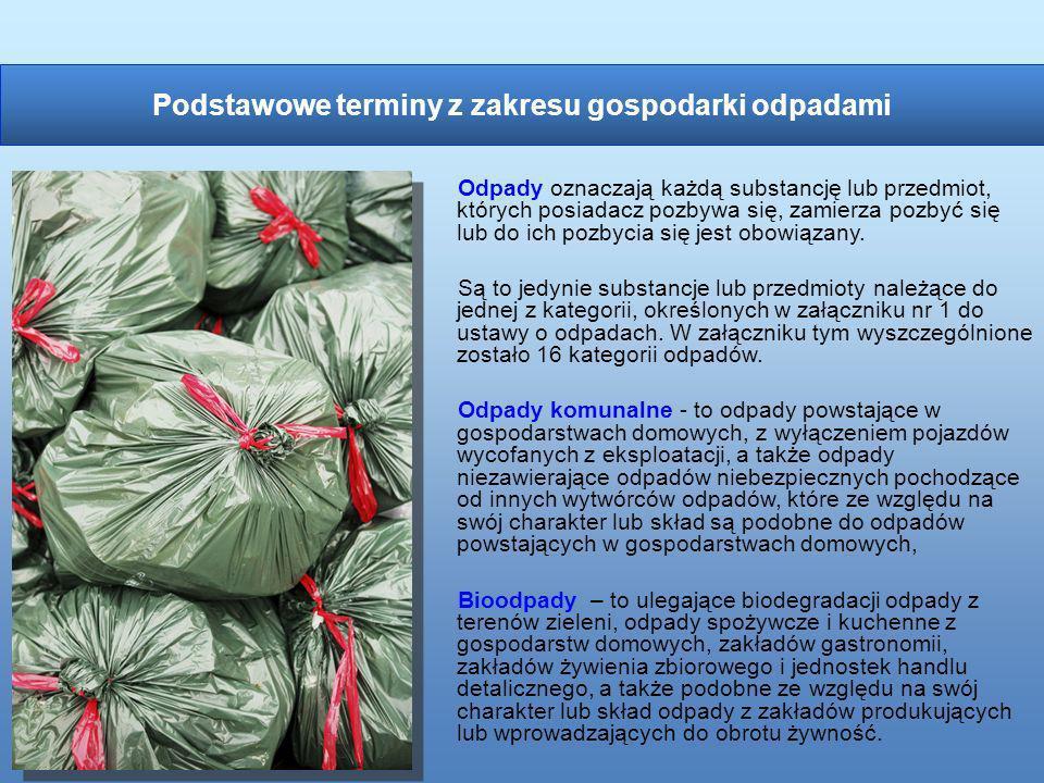 Odpady oznaczają każdą substancję lub przedmiot, których posiadacz pozbywa się, zamierza pozbyć się lub do ich pozbycia się jest obowiązany. Są to jed