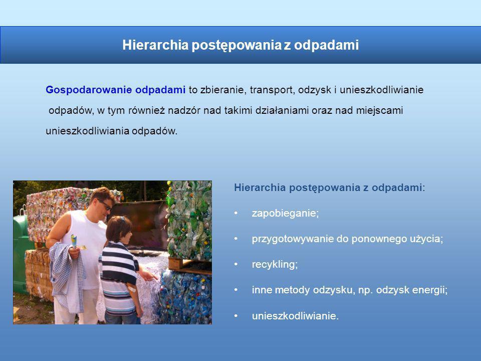 Hierarchia postępowania z odpadami: zapobieganie; przygotowywanie do ponownego użycia; recykling; inne metody odzysku, np. odzysk energii; unieszkodli