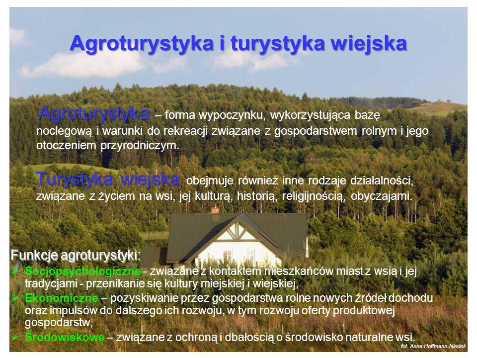 Agroturystyka i turystyka wiejska Funkcje agroturystyki: Socjopsychologiczne - związane z kontaktem mieszkańców miast z wsią i jej tradycjami - przeni