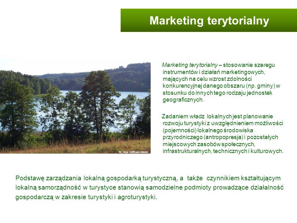 Marketing terytorialny – stosowanie szeregu instrumentów i działań marketingowych, mających na celu wzrost zdolności konkurencyjnej danego obszaru (np
