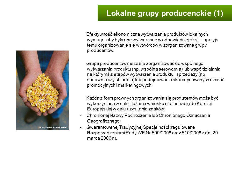 Lokalne grupy producenckie (1) Efektywność ekonomiczna wytwarzania produktów lokalnych wymaga, aby były one wytwarzane w odpowiedniej skali – sprzyja