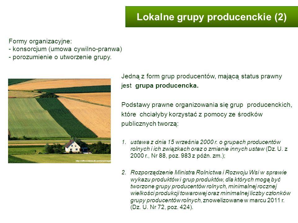 Lokalne grupy producenckie (2) Jedną z form grup producentów, mającą status prawny jest grupa producencka. Podstawy prawne organizowania się grup prod