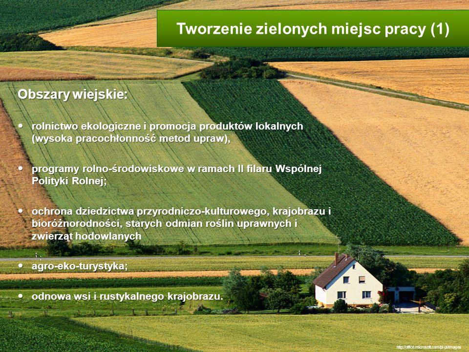 Obszary wiejskie: rolnictwo ekologiczne i promocja produktów lokalnych (wysoka pracochłonność metod upraw), rolnictwo ekologiczne i promocja produktów