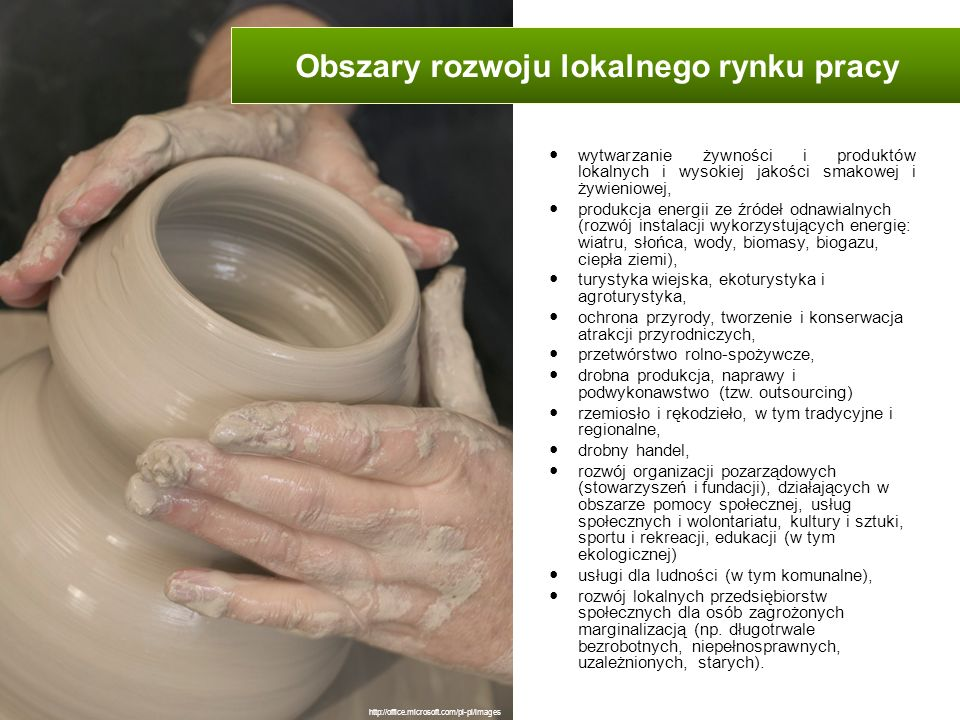 wytwarzanie żywności i produktów lokalnych i wysokiej jakości smakowej i żywieniowej, produkcja energii ze źródeł odnawialnych (rozwój instalacji wyko