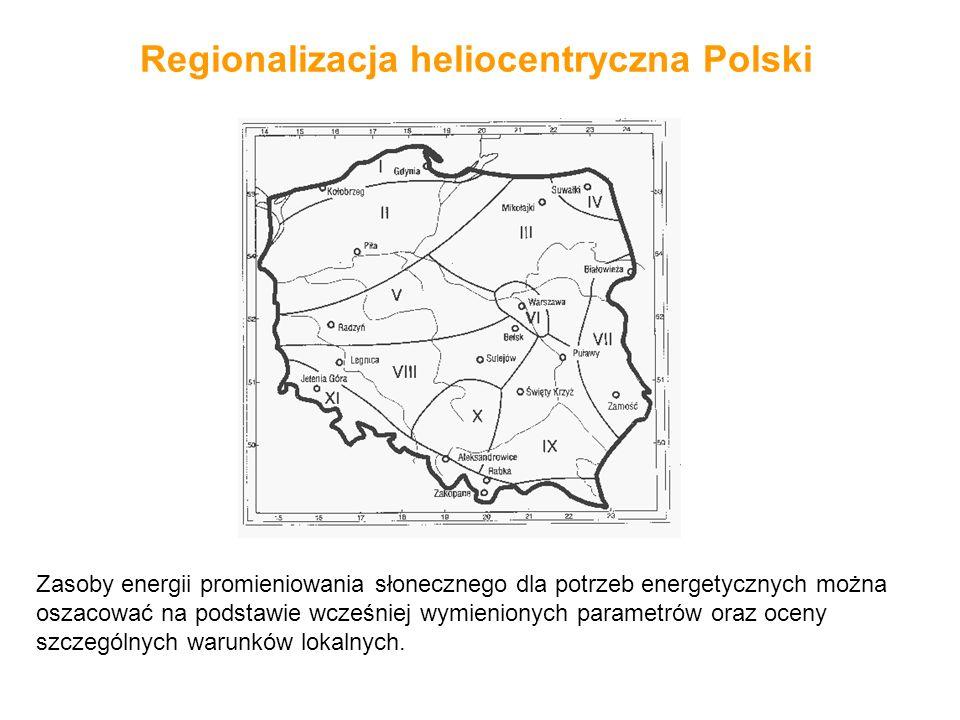 Regionalizacja heliocentryczna Polski Zasoby energii promieniowania słonecznego dla potrzeb energetycznych można oszacować na podstawie wcześniej wymi