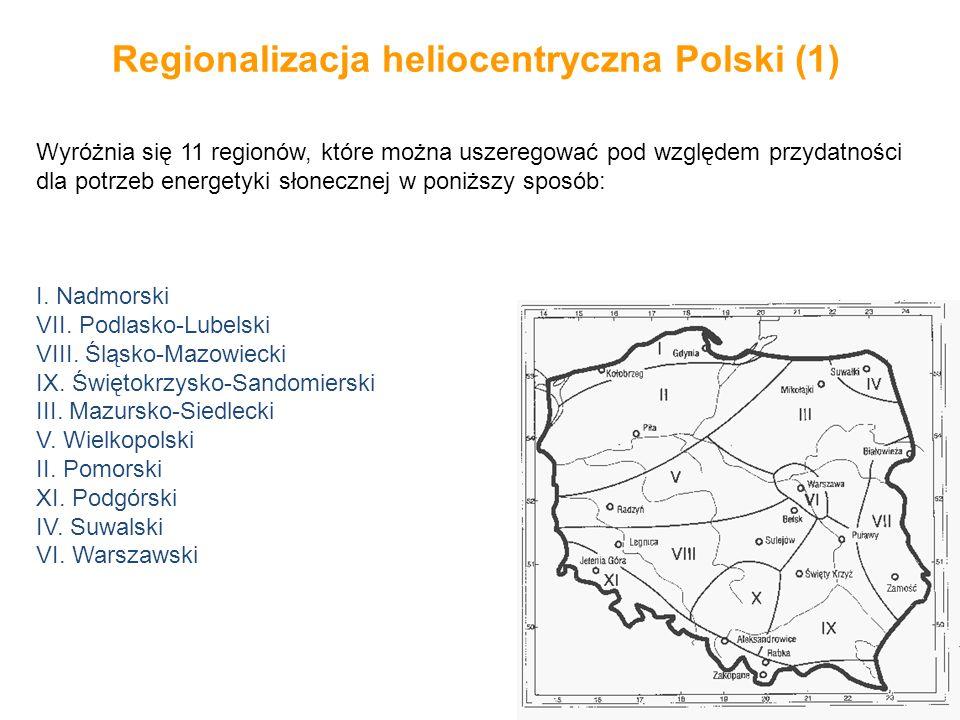 Regionalizacja heliocentryczna Polski (1) Wyróżnia się 11 regionów, które można uszeregować pod względem przydatności dla potrzeb energetyki słoneczne