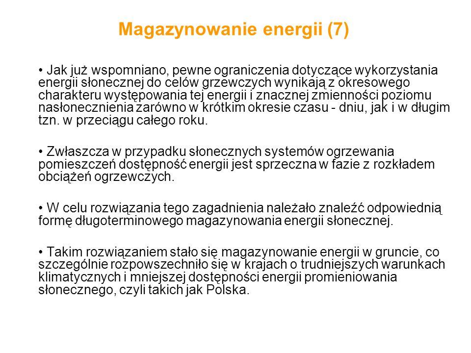 Magazynowanie energii (7) Jak już wspomniano, pewne ograniczenia dotyczące wykorzystania energii słonecznej do celów grzewczych wynikają z okresowego