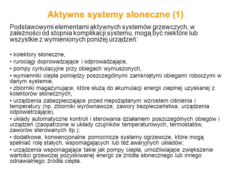 Aktywne systemy słoneczne (1) Podstawowymi elementami aktywnych systemów grzewczych, w zależności od stopnia komplikacji systemu, mogą być niektóre lu