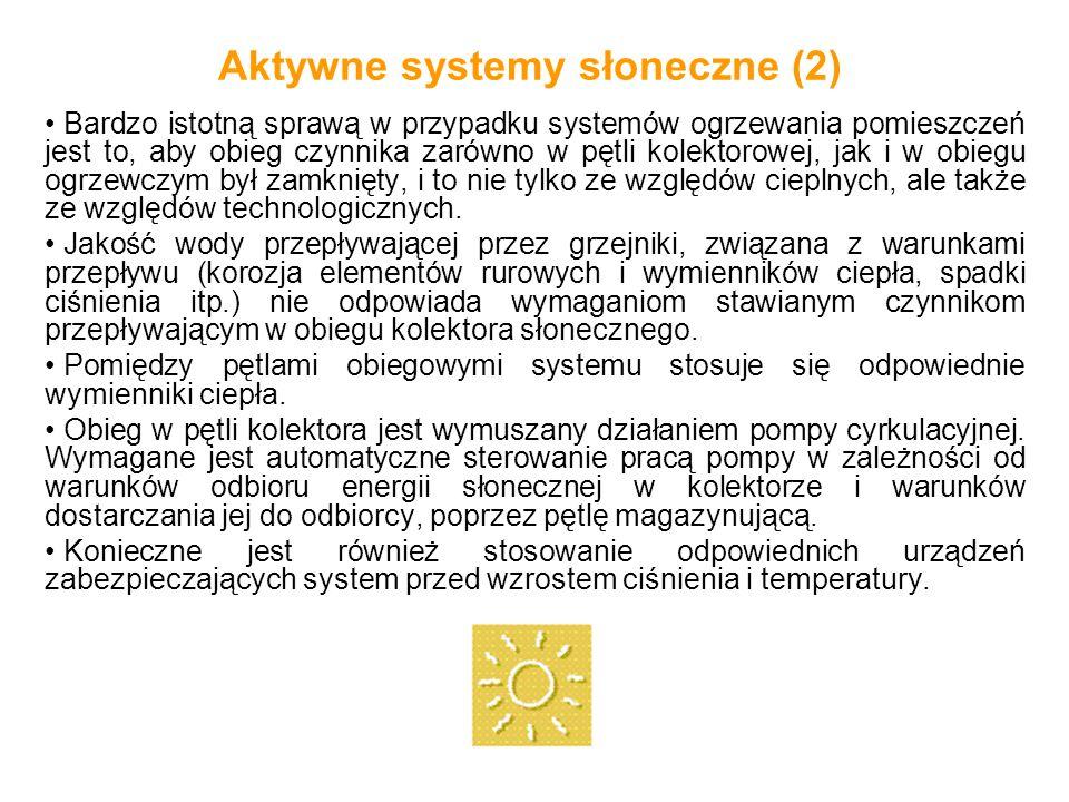 Aktywne systemy słoneczne (2) Bardzo istotną sprawą w przypadku systemów ogrzewania pomieszczeń jest to, aby obieg czynnika zarówno w pętli kolektorow