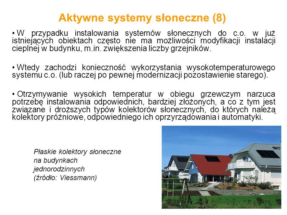 Aktywne systemy słoneczne (8) W przypadku instalowania systemów słonecznych do c.o. w już istniejących obiektach często nie ma możliwości modyfikacji