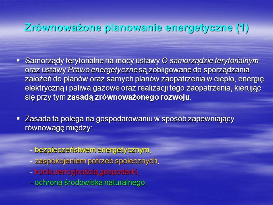 Zrównoważone planowanie energetyczne (1) Samorządy terytorialne na mocy ustawy O samorządzie terytorialnym oraz ustawy Prawo energetyczne są zobligowa