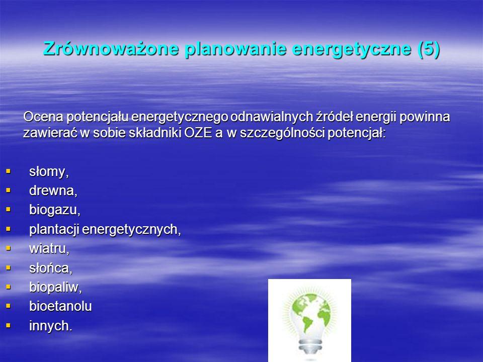 Zrównoważone planowanie energetyczne (5) Ocena potencjału energetycznego odnawialnych źródeł energii powinna zawierać w sobie składniki OZE a w szczeg