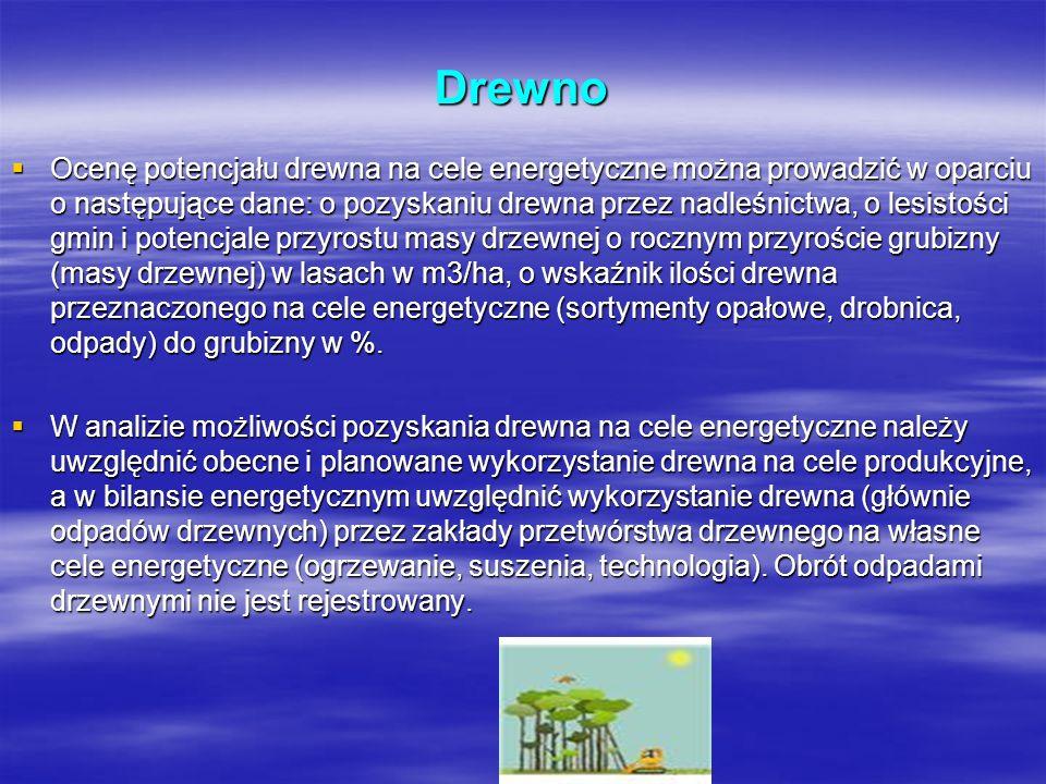 Drewno Ocenę potencjału drewna na cele energetyczne można prowadzić w oparciu o następujące dane: o pozyskaniu drewna przez nadleśnictwa, o lesistości