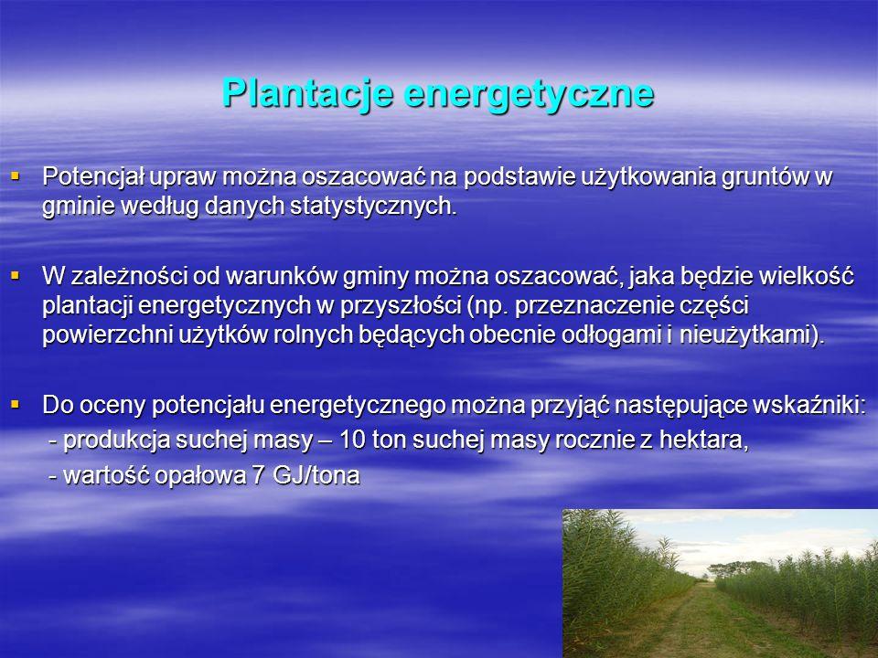 Plantacje energetyczne Potencjał upraw można oszacować na podstawie użytkowania gruntów w gminie według danych statystycznych. Potencjał upraw można o