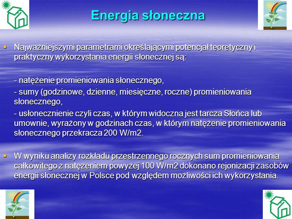 Energia słoneczna Energia słoneczna Najważniejszymi parametrami określającymi potencjał teoretyczny i praktyczny wykorzystania energii słonecznej są:
