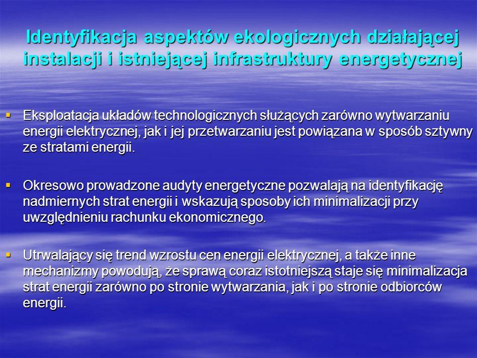 Identyfikacja aspektów ekologicznych działającej instalacji i istniejącej infrastruktury energetycznej Eksploatacja układów technologicznych służących