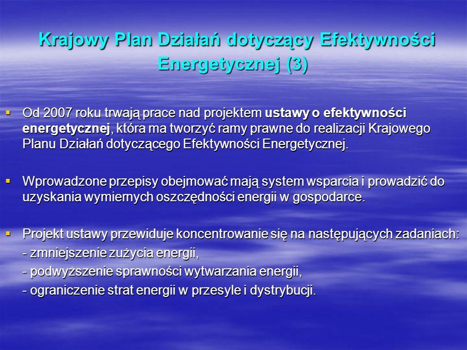 Krajowy Plan Działań dotyczący Efektywności Energetycznej (3) Krajowy Plan Działań dotyczący Efektywności Energetycznej (3) Od 2007 roku trwają prace
