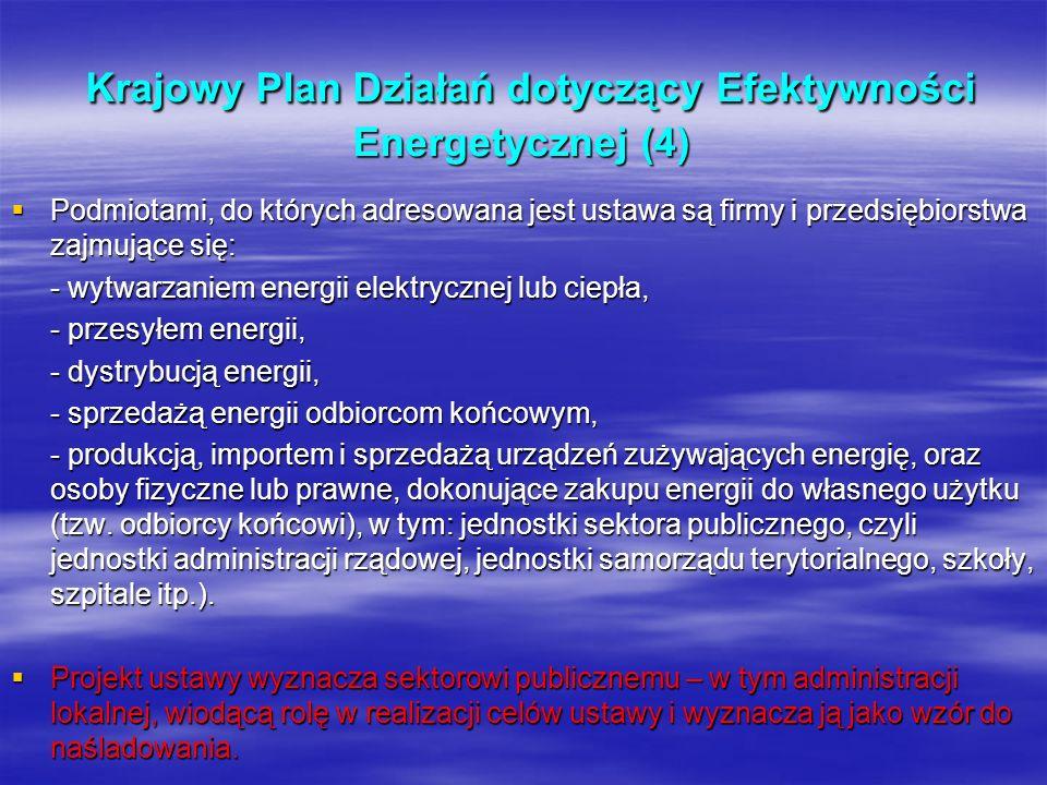 Krajowy Plan Działań dotyczący Efektywności Energetycznej (4) Krajowy Plan Działań dotyczący Efektywności Energetycznej (4) Podmiotami, do których adr