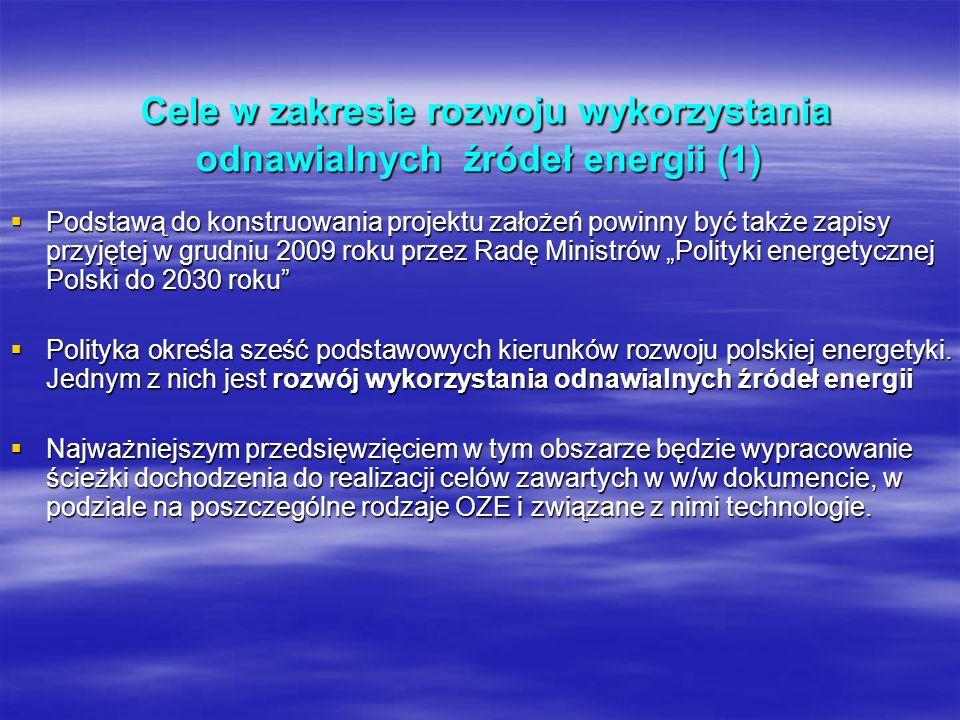 Cele w zakresie rozwoju wykorzystania odnawialnych źródeł energii (1) Cele w zakresie rozwoju wykorzystania odnawialnych źródeł energii (1) Podstawą d