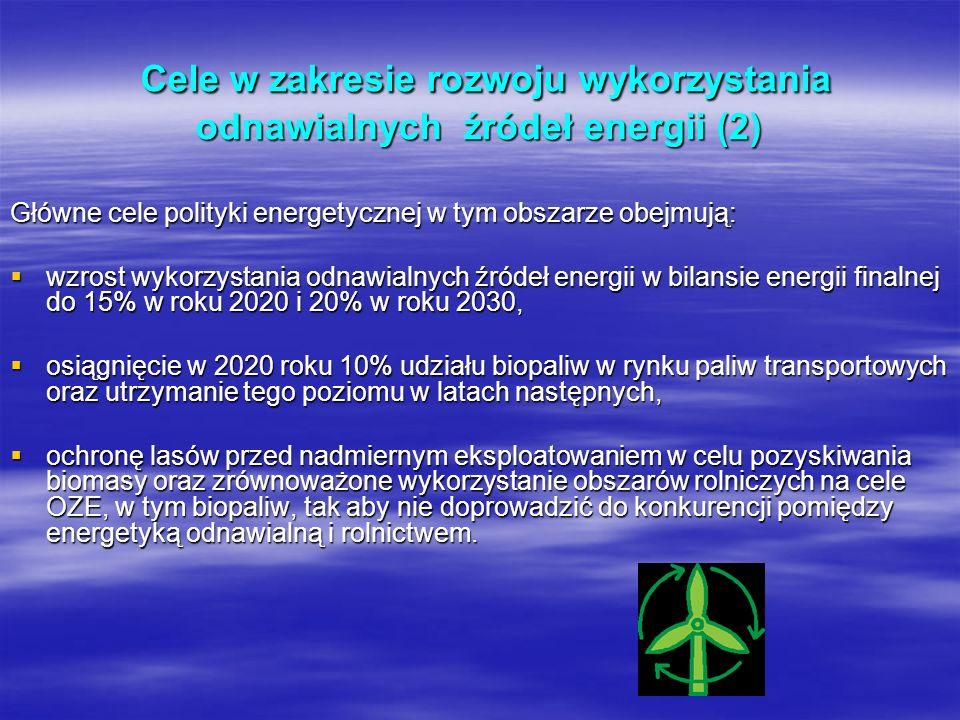 Cele w zakresie rozwoju wykorzystania odnawialnych źródeł energii (2) Cele w zakresie rozwoju wykorzystania odnawialnych źródeł energii (2) Główne cel