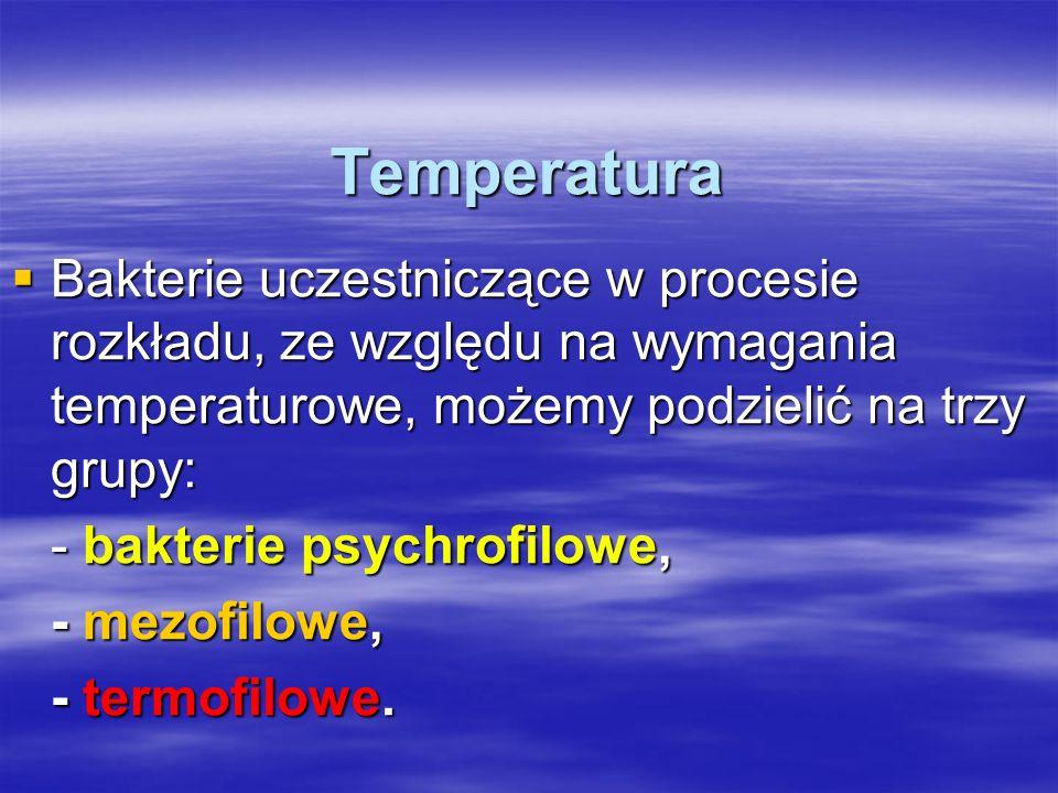 Temperatura Bakterie uczestniczące w procesie rozkładu, ze względu na wymagania temperaturowe, możemy podzielić na trzy grupy: Bakterie uczestniczące