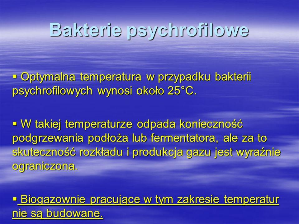 Bakterie psychrofilowe Optymalna temperatura w przypadku bakterii psychrofilowych wynosi około 25°C. Optymalna temperatura w przypadku bakterii psychr