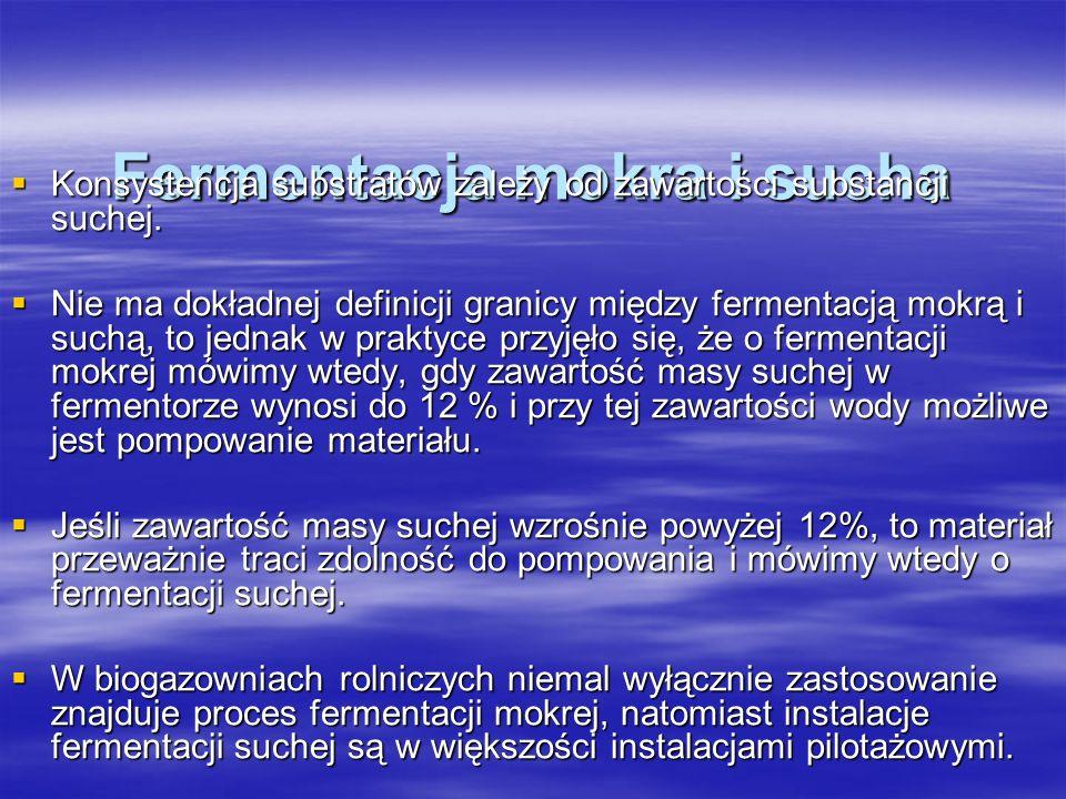 Fermentacja mokra i sucha Konsystencja substratów zależy od zawartości substancji suchej. Konsystencja substratów zależy od zawartości substancji such