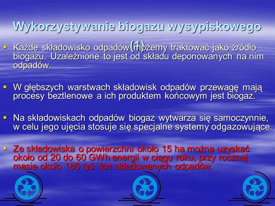 Wykorzystywanie biogazu wysypiskowego (1) Każde składowisko odpadów możemy traktować jako źródło biogazu. Uzależnione to jest od składu deponowanych n