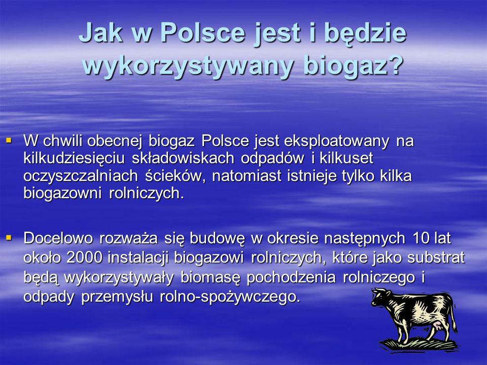 Jak w Polsce jest i będzie wykorzystywany biogaz? W chwili obecnej biogaz Polsce jest eksploatowany na kilkudziesięciu składowiskach odpadów i kilkuse