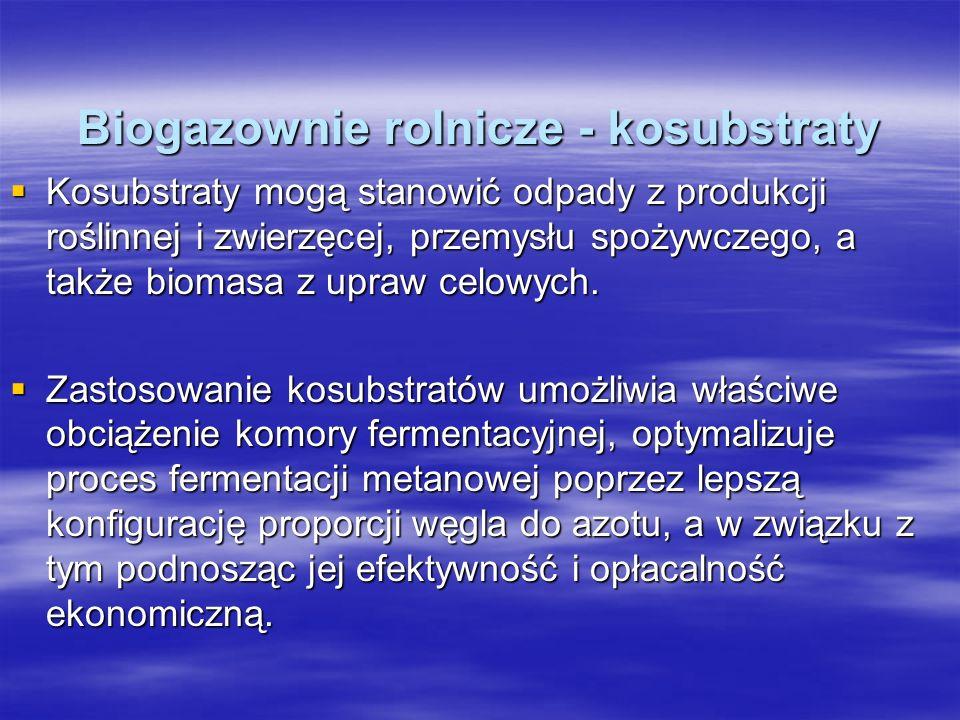 Biogazownie rolnicze - kosubstraty Kosubstraty mogą stanowić odpady z produkcji roślinnej i zwierzęcej, przemysłu spożywczego, a także biomasa z upraw
