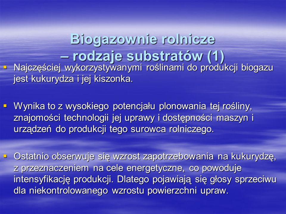 Biogazownie rolnicze – rodzaje substratów (1) Najczęściej wykorzystywanymi roślinami do produkcji biogazu jest kukurydza i jej kiszonka. Najczęściej w