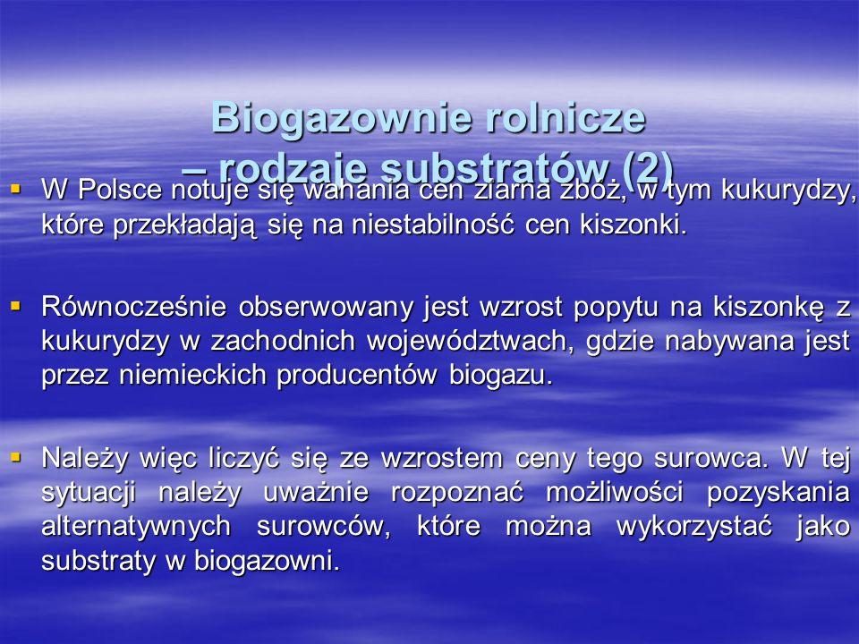 Biogazownie rolnicze – rodzaje substratów (2) W Polsce notuje się wahania cen ziarna zbóż, w tym kukurydzy, które przekładają się na niestabilność cen