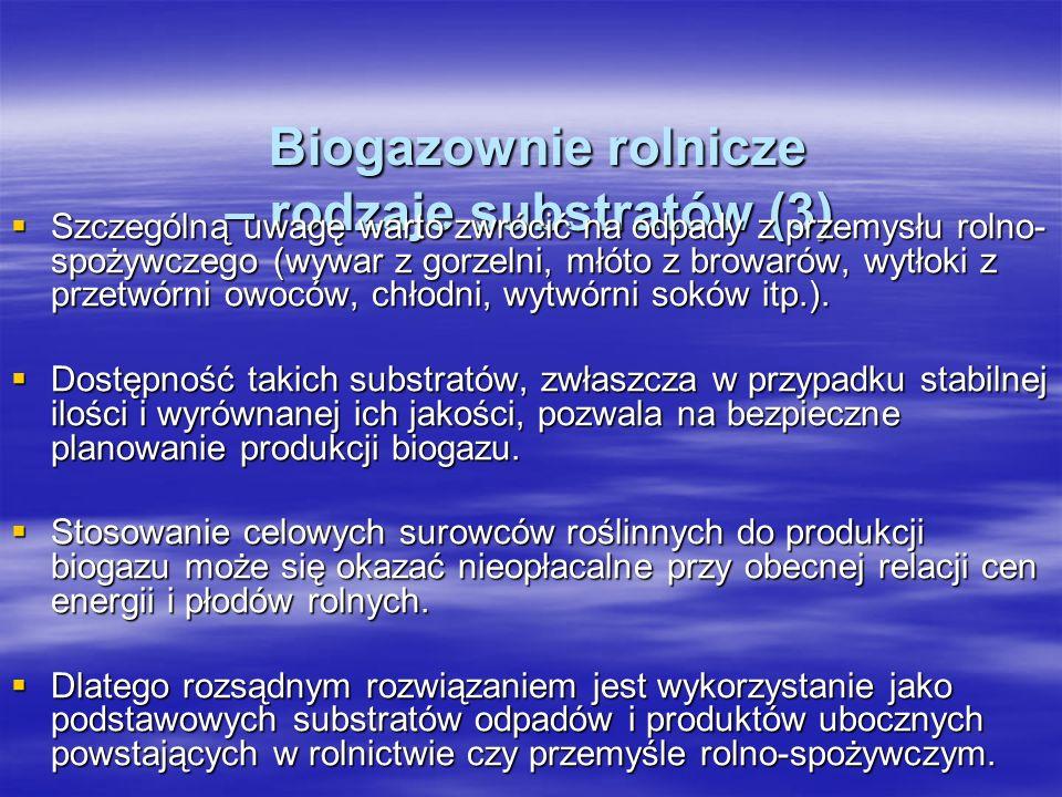 Biogazownie rolnicze – rodzaje substratów (3) Biogazownie rolnicze – rodzaje substratów (3) Szczególną uwagę warto zwrócić na odpady z przemysłu rolno