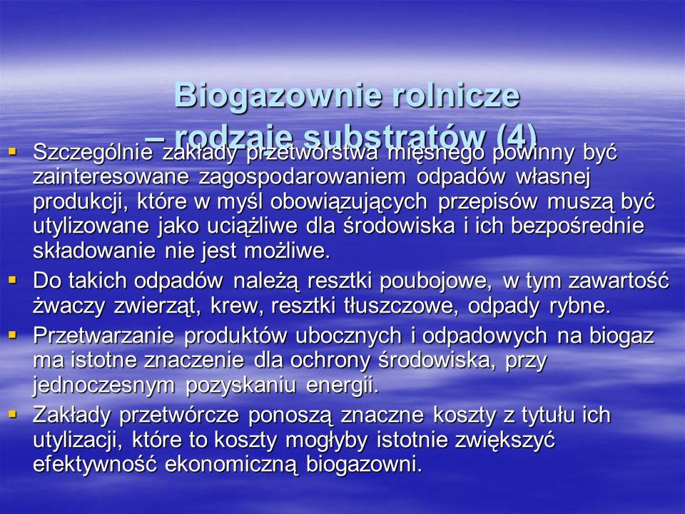 Biogazownie rolnicze – rodzaje substratów (4) Biogazownie rolnicze – rodzaje substratów (4) Szczególnie zakłady przetwórstwa mięsnego powinny być zain