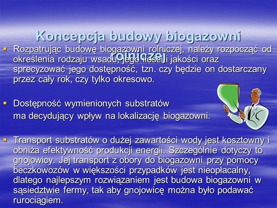 Koncepcja budowy biogazowni rolniczej Rozpatrując budowę biogazowni rolniczej, należy rozpocząć od określenia rodzaju wsadu, jego ilości i jakości ora