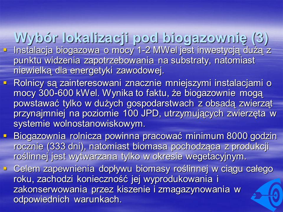Wybór lokalizacji pod biogazownię (3) Instalacja biogazowa o mocy 1-2 MWel jest inwestycją dużą z punktu widzenia zapotrzebowania na substraty, natomi