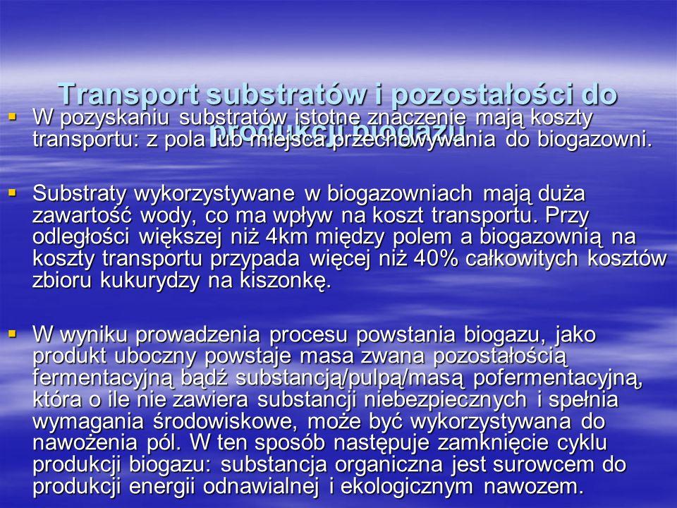 Transport substratów i pozostałości do produkcji biogazu W pozyskaniu substratów istotne znaczenie mają koszty transportu: z pola lub miejsca przechow